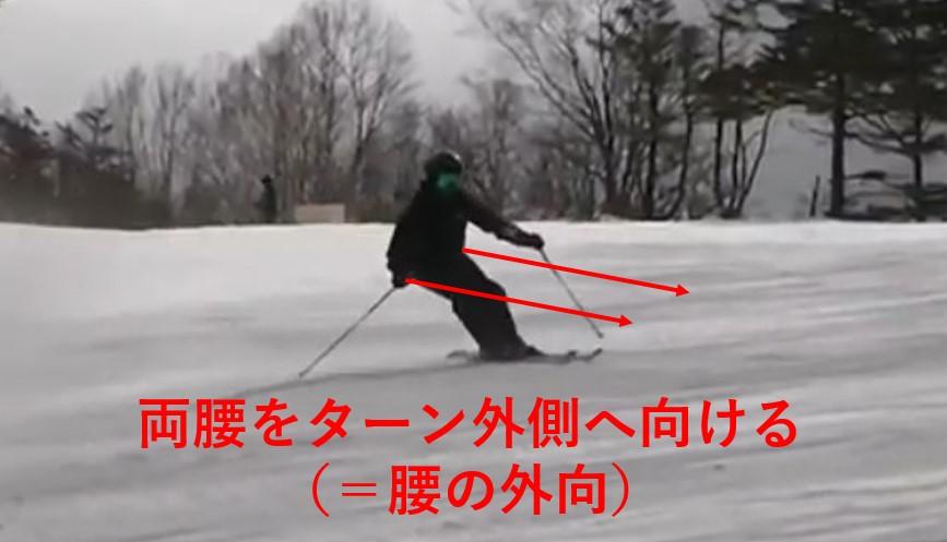 スキー検定 1級 大回り 腰の向き